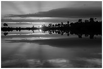 Sunset reflections, Pines Glades Lake. Everglades National Park ( black and white)