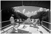 Canal seen from deck of tour boat. Everglades National Park ( black and white)