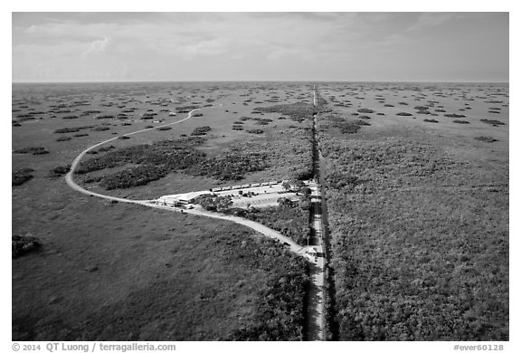 Aerial view of visitor center and loop road, Shark Valley. Everglades National Park (black and white)
