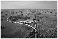 Aerial view of visitor center and loop road, Shark Valley. Everglades National Park ( black and white)