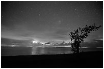 Thunderstorms at night over Florida Bay seen from Flamingo. Everglades National Park ( black and white)