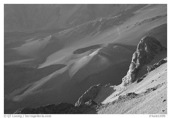 Haleakala crater from Kalahaku at sunrise. Haleakala National Park (black and white)