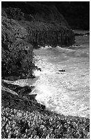 Waves and cliffs at Kipahulu, morning. Haleakala National Park ( black and white)