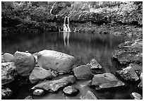 Waterfall in Ohe o gorge, evening. Haleakala National Park, Hawaii, USA. (black and white)