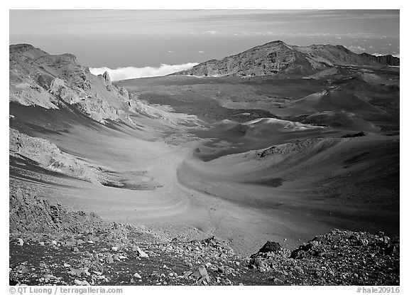 View of Haleakala crater from White Hill with multi-colored cinder. Haleakala National Park (black and white)