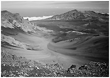View of Haleakala crater from White Hill with multi-colored cinder. Haleakala National Park, Hawaii, USA. (black and white)