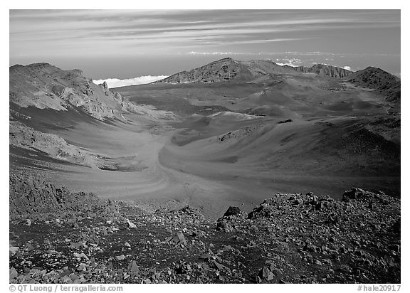 Colorful cinder in Haleakala crater seen from White Hill. Haleakala National Park (black and white)