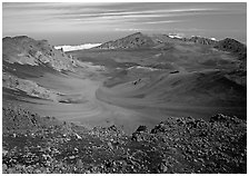 Colorful cinder in Haleakala crater seen from White Hill. Haleakala National Park, Hawaii, USA. (black and white)