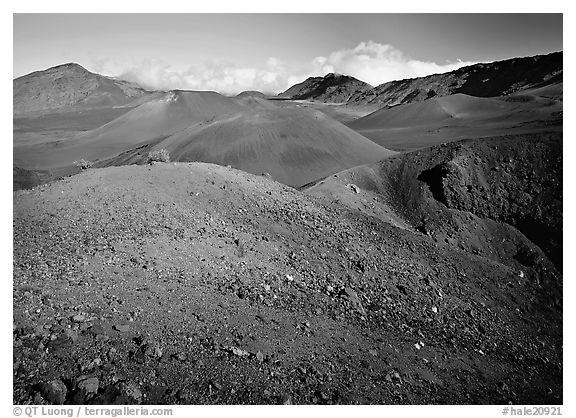 Colorful cinder in Haleakala crater from Sliding sands trail. Haleakala National Park (black and white)