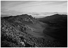 Haleakala crater and clouds at sunrise. Haleakala National Park ( black and white)