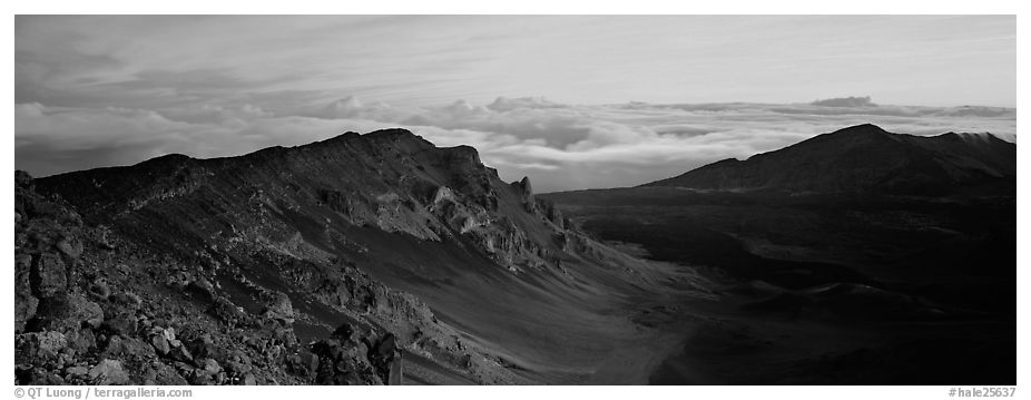 Crater and sea of clouds at sunrise. Haleakala National Park (black and white)