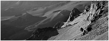 Volcanic landscape inside Haleakala Crater. Haleakala National Park (Panoramic black and white)