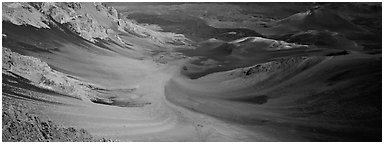 Ash flows with bright colors in Haleakala crater. Haleakala National Park (Panoramic black and white)