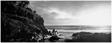 Stream outlet at sunrise. Haleakala National Park (Panoramic black and white)