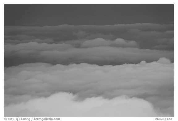Clouds from above. Haleakala National Park (black and white)