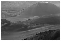 Cinder cones within Halekala crater. Haleakala National Park, Hawaii, USA. (black and white)