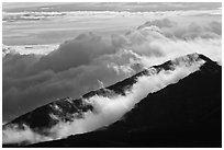 Crater ridges with clouds. Haleakala National Park, Hawaii, USA. (black and white)