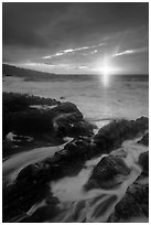 Sunrise over stormy ocean. Haleakala National Park ( black and white)