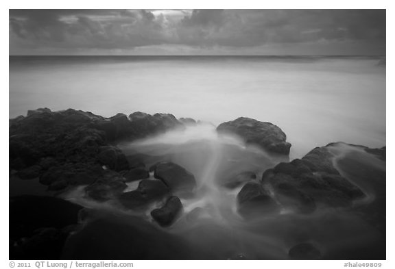Long exposure of ocean and rocks, Kuloa Point. Haleakala National Park (black and white)