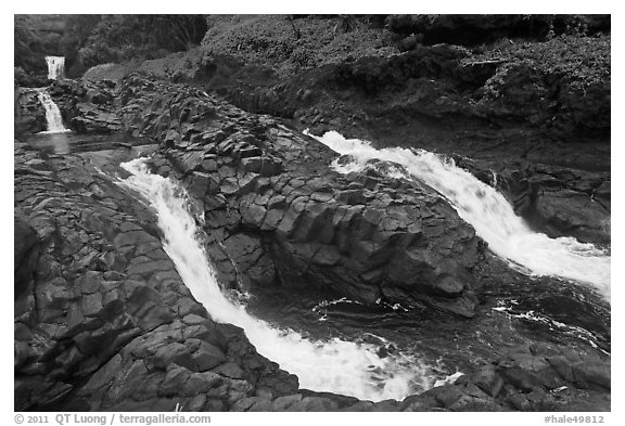 Pipiwai Stream, high water. Haleakala National Park (black and white)