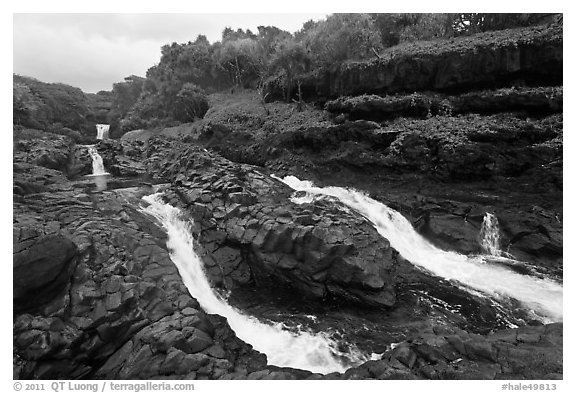 Cascades and waterfalls at the Seven Sacred Pools. Haleakala National Park (black and white)