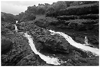 Cascades and waterfalls at the Seven Sacred Pools. Haleakala National Park, Hawaii, USA. (black and white)