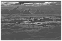 Sea of clouds at sunset. Haleakala National Park, Hawaii, USA. (black and white)