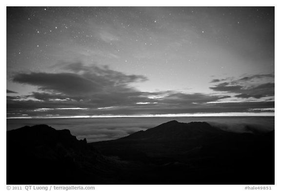 Haleakala crater and stars at night. Haleakala National Park (black and white)