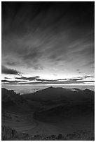 Halekakala crater, pre-sunrise dawn. Haleakala National Park, Hawaii, USA. (black and white)