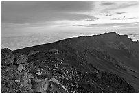 Haleakala crater with tourists gathered for sunrise. Haleakala National Park, Hawaii, USA. (black and white)
