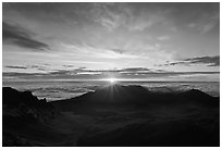 Sun rising, Haleakala Crater. Haleakala National Park, Hawaii, USA. (black and white)