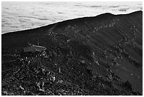First light hits visitor center on Halekala summit. Haleakala National Park, Hawaii, USA. (black and white)