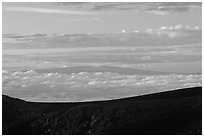 Mauna Loa framed by Haleakala Crater at sunrise. Haleakala National Park ( black and white)