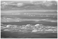 Mauna Loa and clouds at sunrise. Haleakala National Park, Hawaii, USA. (black and white)
