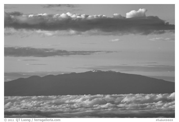 Mauna Kea and clouds at sunrise. Haleakala National Park (black and white)