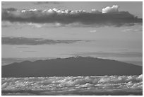 Mauna Kea and clouds at sunrise. Haleakala National Park ( black and white)