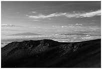 Haleakala Crater, Mauna Kea, and Mauna Loa. Haleakala National Park, Hawaii, USA. (black and white)