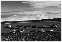 Parking lot, Halekala Crater summit. Haleakala National Park, Hawaii, USA. (black and white)