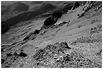 View inside Haleakala crater, early morning. Haleakala National Park, Hawaii, USA. (black and white)