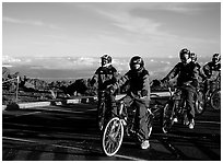 Getting ready to ride bicycles down from the top of the Crater to sea level. Haleakala National Park ( black and white)