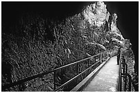 Thurston lava tube seen from inside. Hawaii Volcanoes National Park, Hawaii, USA. (black and white)