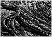 Pattern of fabric-like hardened pahoehoe lava. Hawaii Volcanoes National Park, Hawaii, USA. (black and white)
