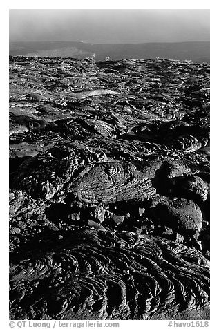 Hardened lava flow and Kaena Point. Hawaii Volcanoes National Park (black and white)