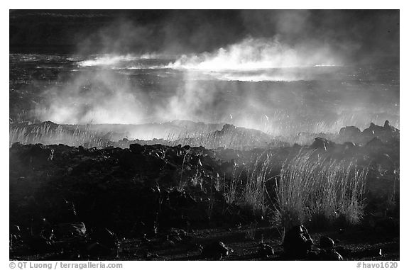 Fumeroles and lava near Halemaumau. Hawaii Volcanoes National Park (black and white)