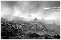 Fumeroles and hardened lava, early morning. Hawaii Volcanoes National Park, Hawaii, USA. (black and white)