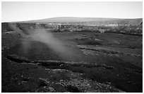Halemaumau crater overlook and Mauna Loa, sunrise. Hawaii Volcanoes National Park ( black and white)