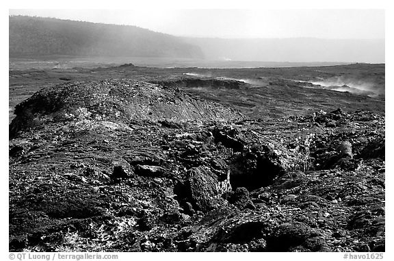 Volcanic landscape of lava field near Mauna Ulu crater. Hawaii Volcanoes National Park (black and white)