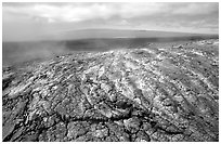 Unstable lava crust on Mauna Ulu crater. Hawaii Volcanoes National Park ( black and white)