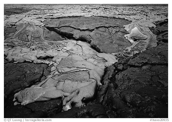 New lava flows over hardened lava. Hawaii Volcanoes National Park (black and white)