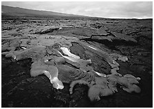 Molten lava flow near Chain of Craters Road. Hawaii Volcanoes National Park, Hawaii, USA. (black and white)